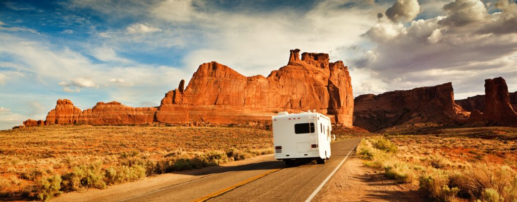 RV driving in desert