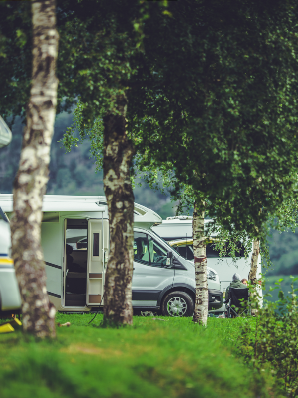 RVs on a lake campground